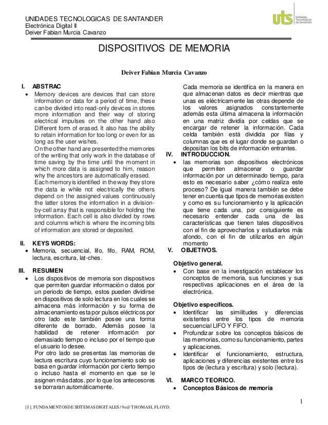 UNIDADES TECNOLOGICAS DE SANTANDER Electrónica Digital II Deiver Fabian Murcia Cavanzo 1 [ I ]. FUNDAMENTOSDE SISTEMASDIGI...