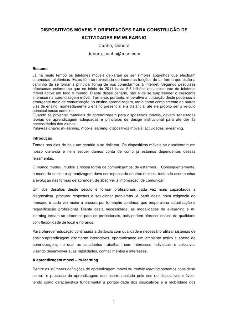 DISPOSITIVOS MÓVEIS E ORIENTAÇÕES PARA CONSTRUÇÃO DE                              ACTIVIDADES EM MLEARNIG                 ...