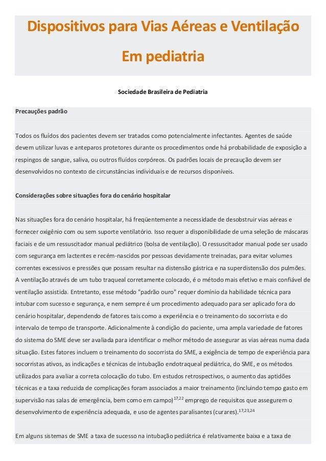 Dispositivos para Vias Aéreas e Ventilação Em pediatria Sociedade Brasileira de Pediatria Precauções padrão Todos os fluíd...