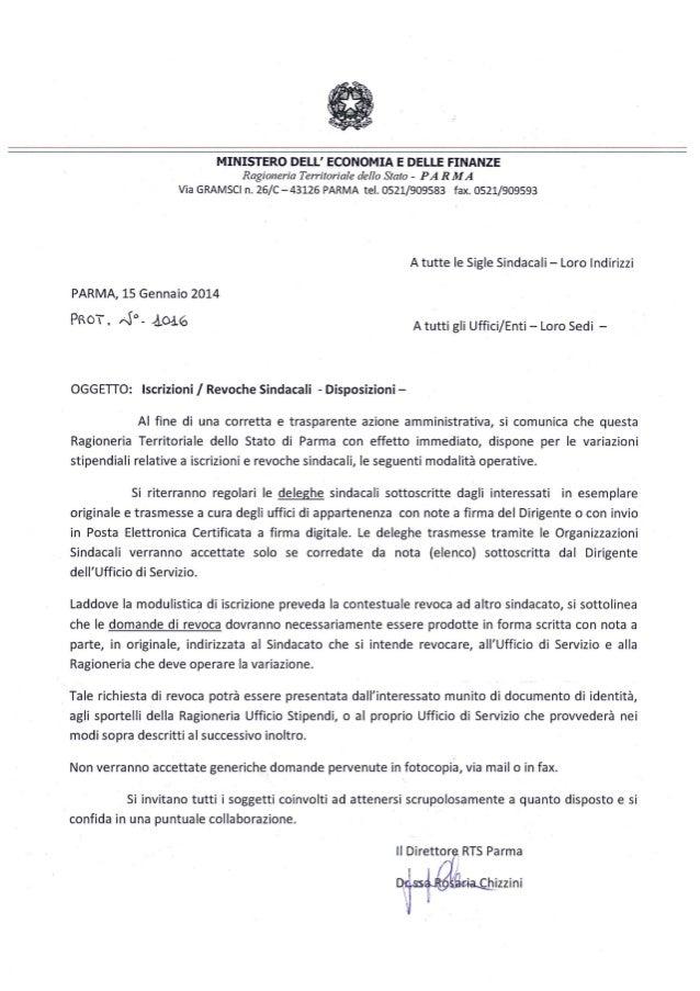 Parma, circolare per regolare le iscrizioni/revoche sindacali dei dipendenti pubblici