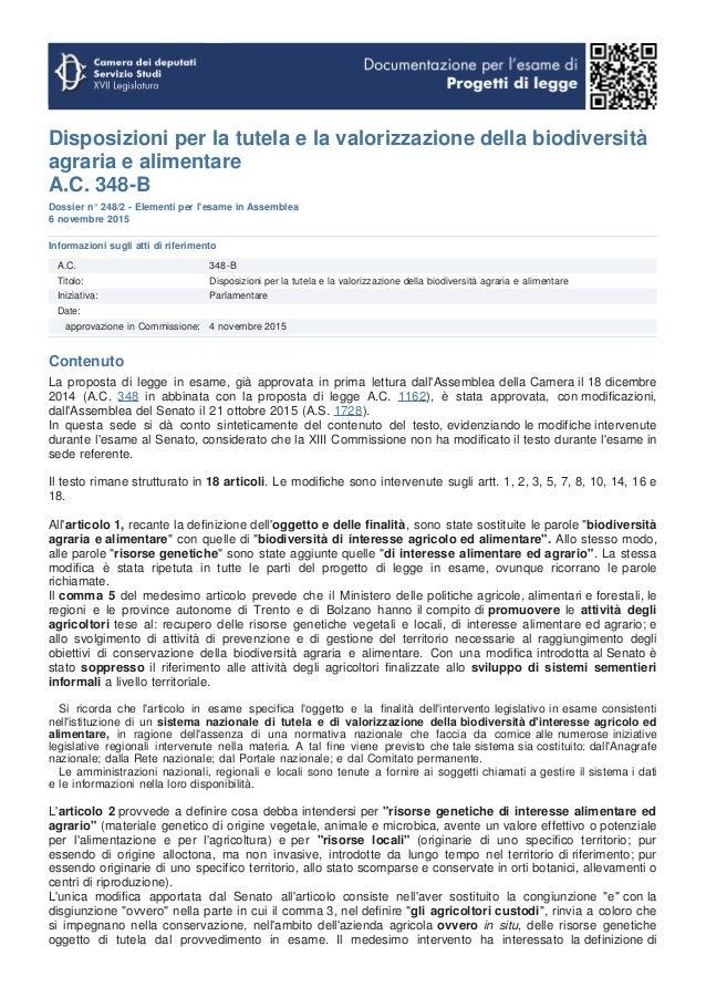 Disposizioni per la tutela e la valorizzazione della biodiversità agraria e alimentare A.C. 348-B Dossier n° 248/2 - Eleme...