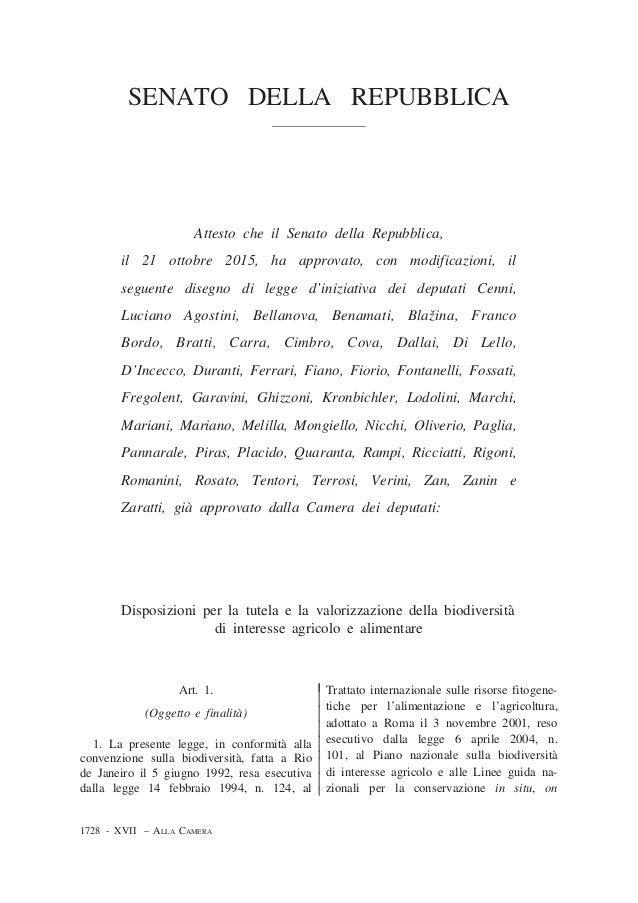 SENATO DELLA REPUBBLICA Attesto che il Senato della Repubblica, il 21 ottobre 2015, ha approvato, con modificazioni, il se...