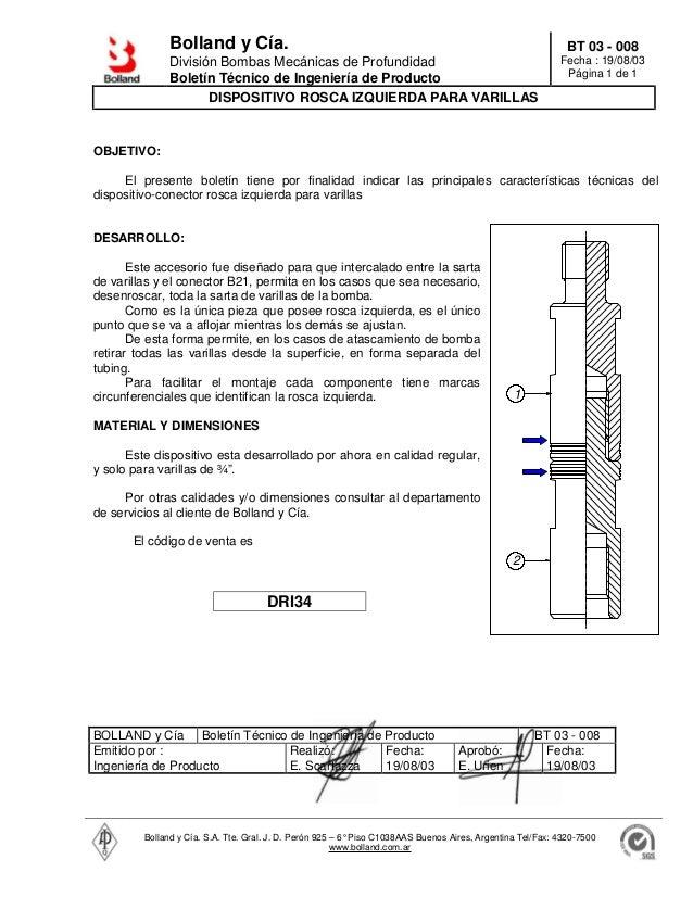 Bolland y Cía. División Bombas Mecánicas de Profundidad Boletín Técnico de Ingeniería de Producto BT 03 - 008 Fecha : 19/0...