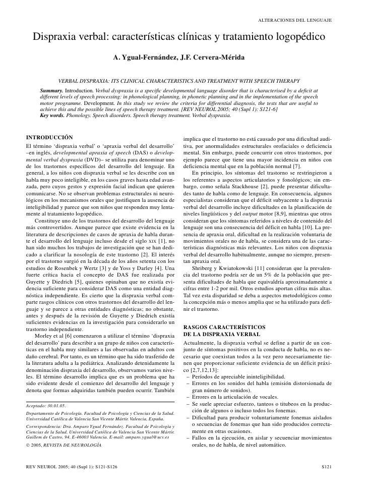 ALTERACIONES DEL LENGUAJE   Dispraxia verbal: características clínicas y tratamiento logopédico                           ...