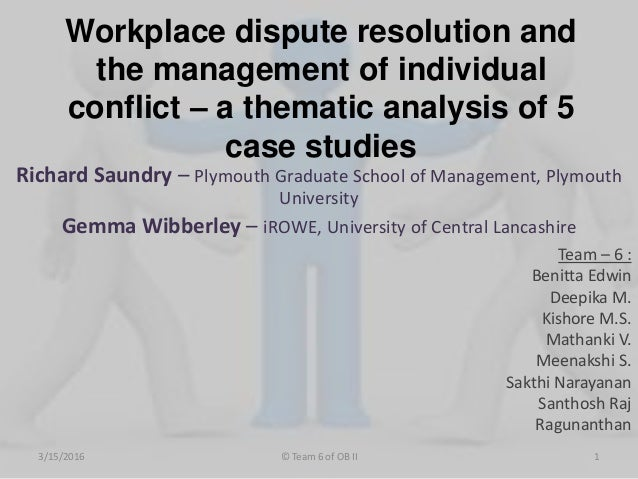 Informal Conflict Resolution:A Workplace Case Study