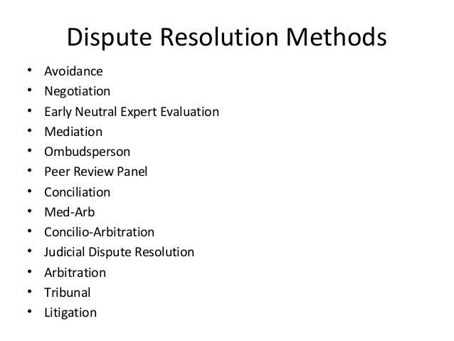 Dispute Resolution Methods U2022 Avoidance ...