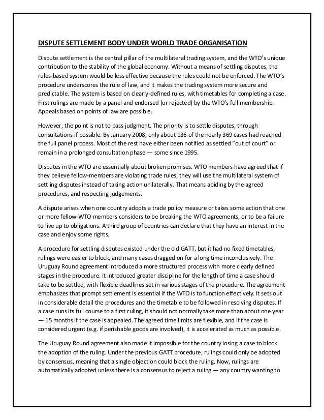 Dispute settlement body under world trade organisation 1 638gcb1358904866 dispute settlement body under world trade organisationdispute settlement is the central pillar of the multilateral trading platinumwayz