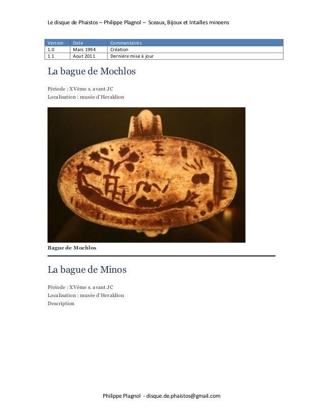 Le disque de Phaistos – Philippe Plagnol – Sceaux, Bijoux et Intailles minoens Philippe Plagnol - disque.de.phaistos@gmail...