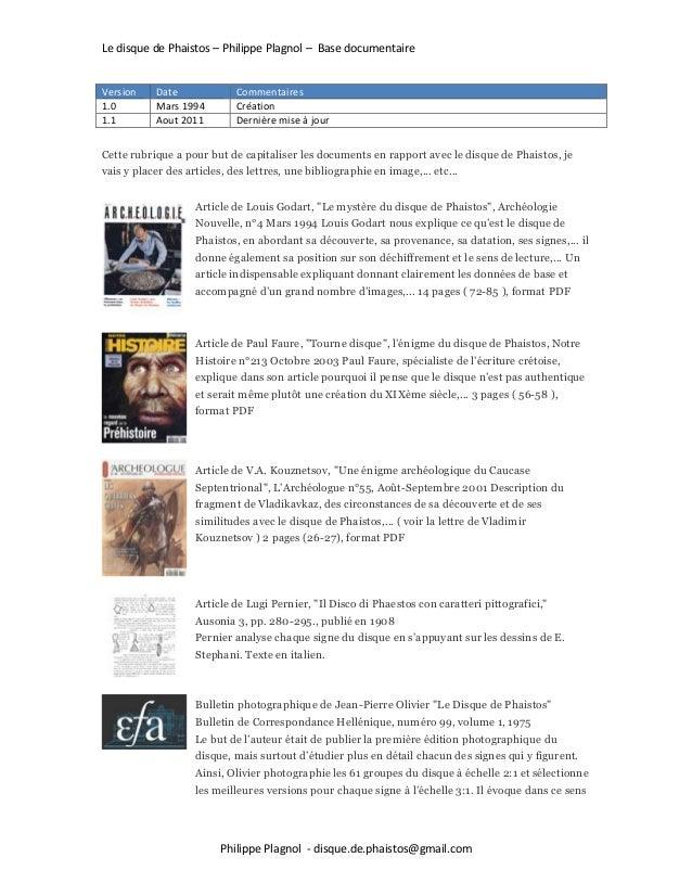 Le disque de Phaistos – Philippe Plagnol – Base documentaire Philippe Plagnol - disque.de.phaistos@gmail.com Version Date ...