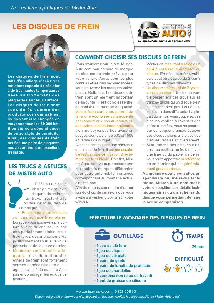 /// Les fiches pratiques de Mister Auto  Les disques de frein                                            Comment choisir s...