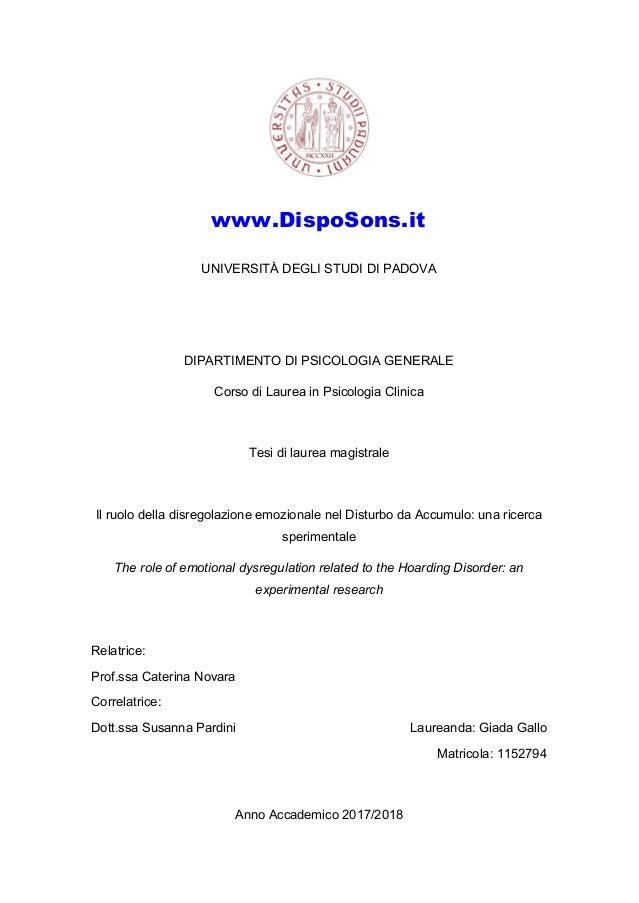 UNIVERSITÀ DEGLI STUDI DI PADOVA DIPARTIMENTO DI PSICOLOGIA GENERALE Corso di Laurea in Psicologia Clinica Tesi di laurea ...