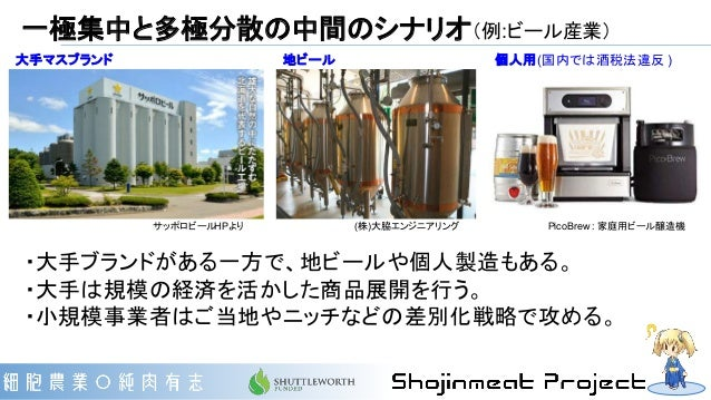 一極集中と多極分散の中間のシナリオ(例:ビール産業) (株)大脇エンジニアリングサッポロビールHPより ・大手ブランドがある一方で、地ビールや個人製造もある。 ・大手は規模の経済を活かした商品展開を行う。 ・小規模事業者はご当地やニッチなどの差...