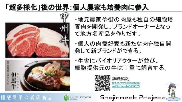 「超多様化」後の世界:個人農家も培養肉に参入 ・地元農家や街の肉屋も独自の細胞培 養肉を開発し、ブランドオーナーとなっ て地方名産品を作りだす。 ・個人の肉愛好家も新たな肉を独自開 発して新ブランドができる。 ・牛舎にバイオリアクターが並び、 ...