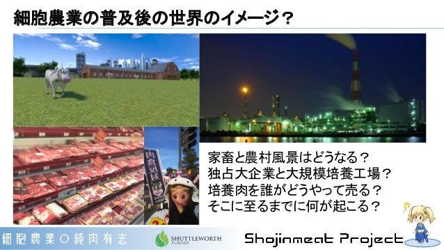 細胞農業の普及後の世界のイメージ? 家畜と農村風景はどうなる? 独占大企業と大規模培養工場? 培養肉を誰がどうやって売る? そこに至るまでに何が起こる?