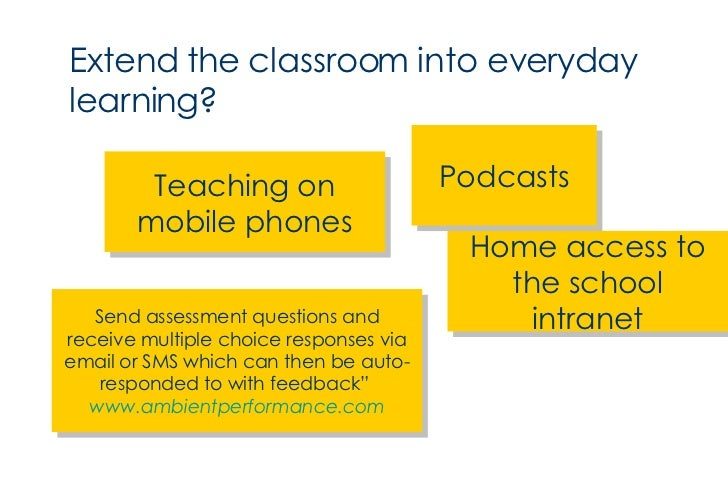 <ul><li>Extend the classroom into everyday learning? </li></ul>Podcasts Teaching on mobile phones Home access to the schoo...