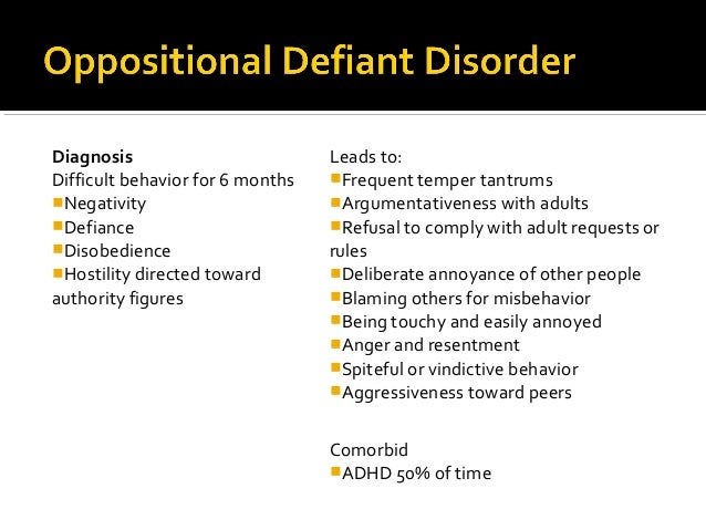 conduct and oppositional defiant disorders essay Children conduct disorder oppositional defiant disorder odd conduct disorder/ odd is an exhausting disorder affecting children, or the entire family when a child with the disorder behaves in a manner resembling the terrible two's magnified by 50.