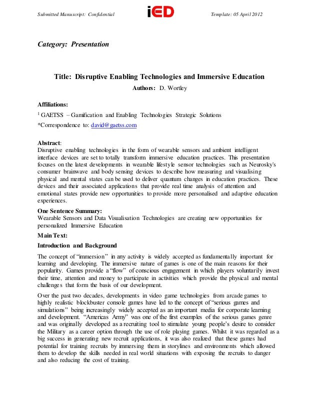 Submitted Manuscript: Confidential Template: 05 April 2012 Category: Presentation Title: Disruptive Enabling Technologies ...