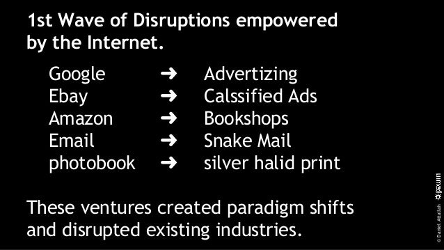 ©DanielAttallah 1st Wave of Disruptions empowered by the Internet. Google ➜ Advertizing Ebay ➜ Calssified Ads Amazon ➜ Boo...