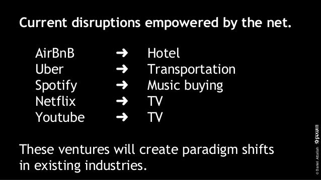 ©DanielAttallah Current disruptions empowered by the net. AirBnB ➜ Hotel Uber ➜ Transportation Spotify ➜ Music buying Netf...