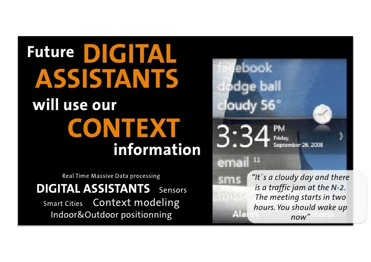 DIGITAL Future  ASSISTANTS will use our          CONTEXT                         information        Real Time Massive Data...