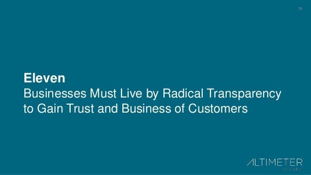 29 Eleven Businesses Must Live by Radical Transparency to Gain Trust and Business of Customers