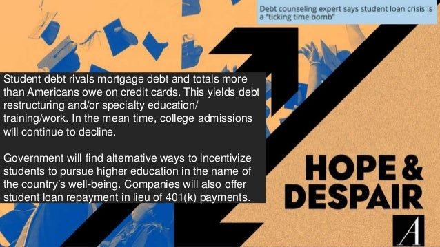 71 Student debt rivals mortgage debt and totals more than Americans owe on credit cards. This yields debt restructuring an...