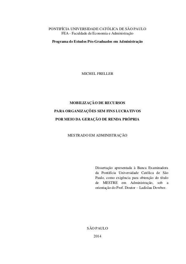 Geração de renda própria - dissertação de mestrado PUC MF Slide 2