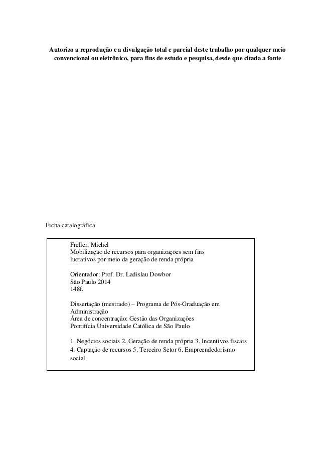 Geração de renda própria - dissertação de mestrado PUC MF Slide 3