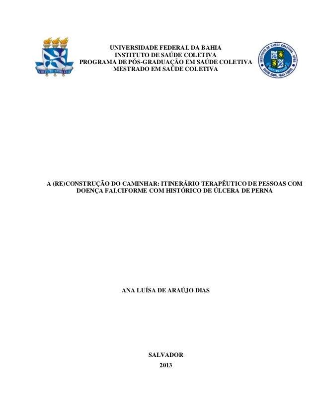 0  UNIVERSIDADE FEDERAL DA BAHIA  INSTITUTO DE SAÚDE COLETIVA  PROGRAMA DE PÓS-GRADUAÇÃO EM SAÚDE COLETIVA  MESTRADO EM SA...