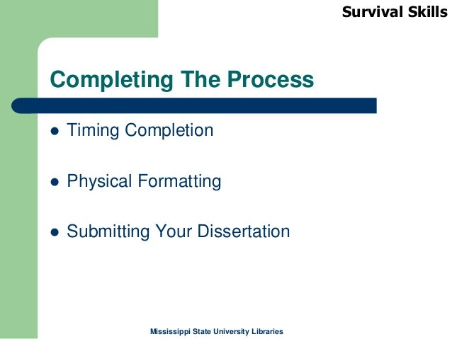 Completing the dissertation process