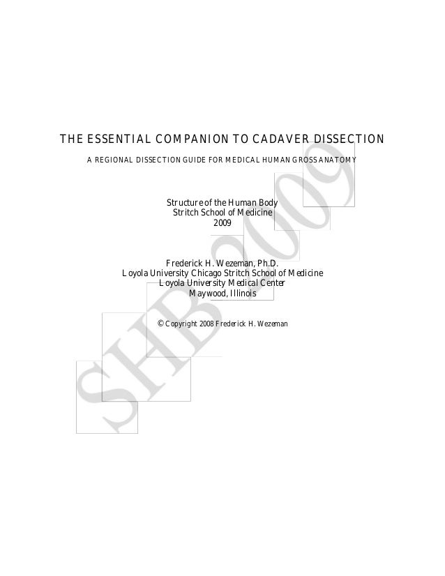 THE ESSENTIAL COMPANION TO CADAVER DISSECTION A REGIONAL DISSECTION GUIDE FOR MEDICAL HUMAN GROSS ANATOMY Structure of the...