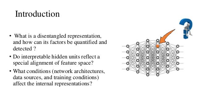 Introduction • What is a disentangled representation, and how can its factors be quantified and detected ? • Do interpreta...