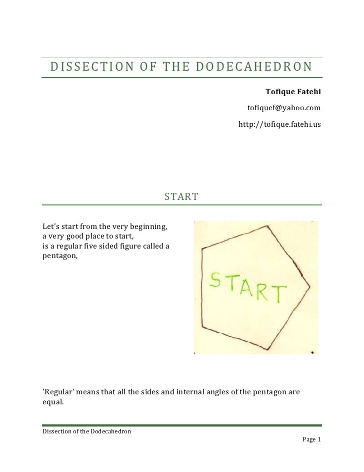 Dissection of the Dodecahedron<br />5 March, 2010Tofique Fatehitofiquef@yahoo.comhttp://tofique.fatehi.us<br />START<br />...