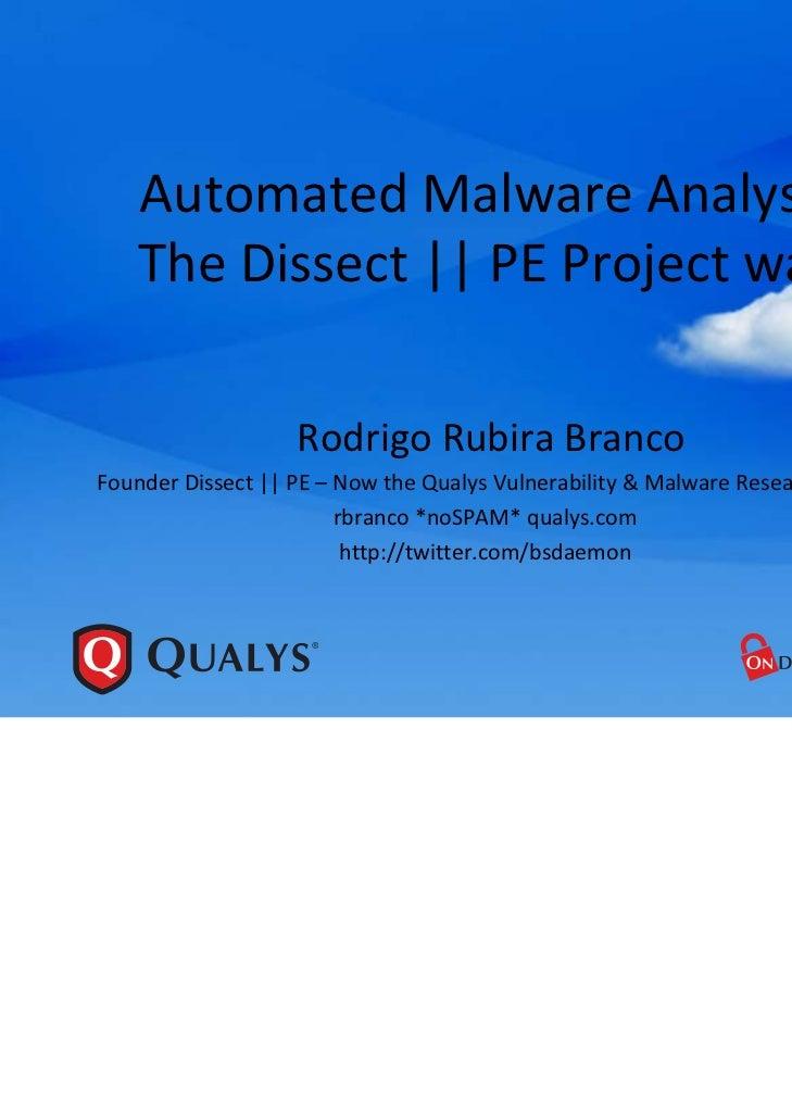 AutomatedMalwareAnalysis    TheDissect||PEProjectway                   RodrigoRubira BrancoFounderDissect||PE–...