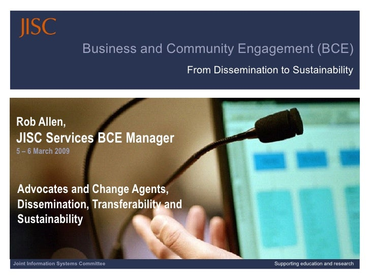 Business and Community Engagement (BCE)                                          From Dissemination to Sustainability     ...