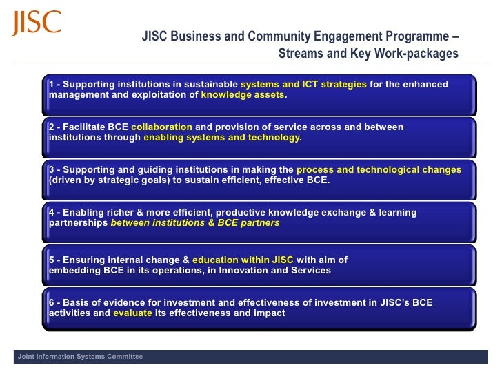 JISC Business and Community Engagement Programme –                                                         Streams and Key...