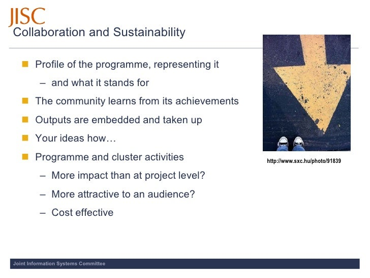 Collaboration and Sustainability      Profile of the programme, representing it           – and what it stands for     T...