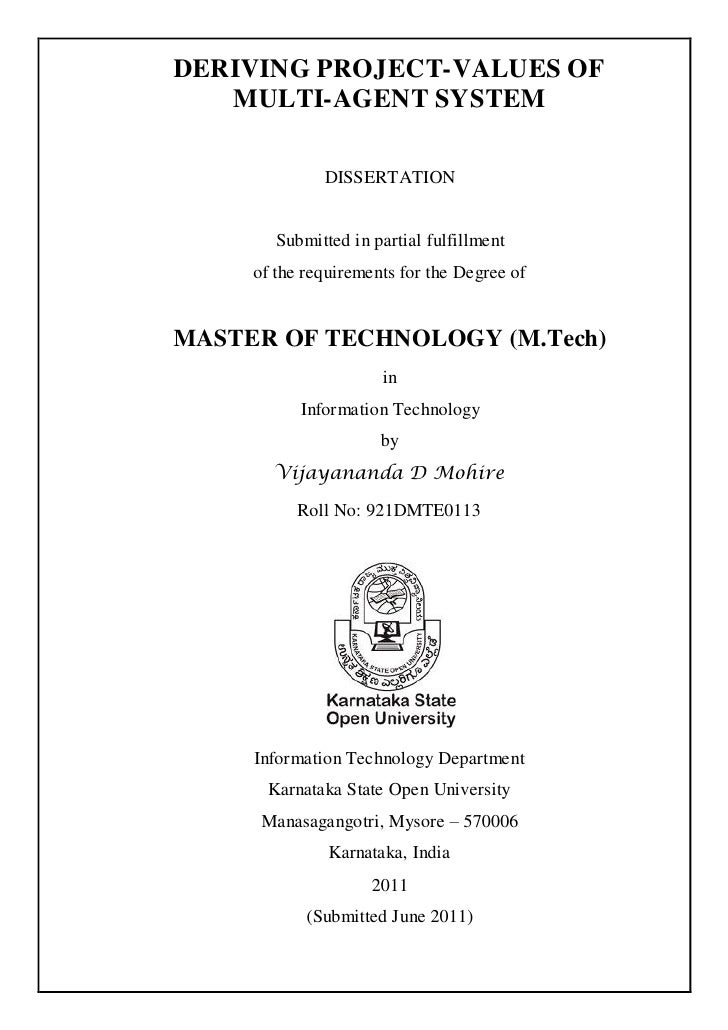 DERIVING PROJECT-VALUES OF   MULTI-AGENT SYSTEM              DISSERTATION        Submitted in partial fulfillment     of t...