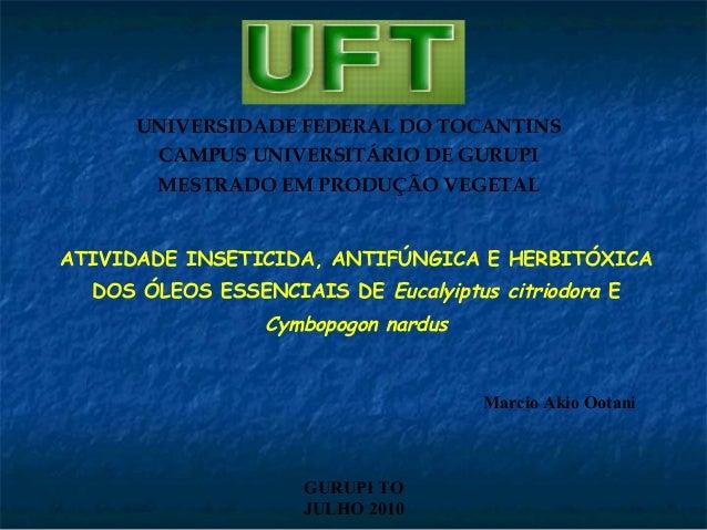 UNIVERSIDADE FEDERAL DO TOCANTINS CAMPUS UNIVERSITÁRIO DE GURUPI MESTRADO EM PRODUÇÃO VEGETAL ATIVIDADE INSETICIDA, ANTIFÚ...