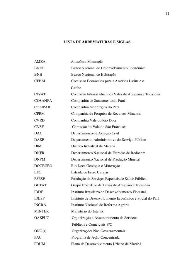 11 LISTA DE ABREVIATURAS E SIGLAS AMZA Amazônia Mineração BNDE Banco Nacional de Desenvolvimento Econômico BNH Banco Nacio...