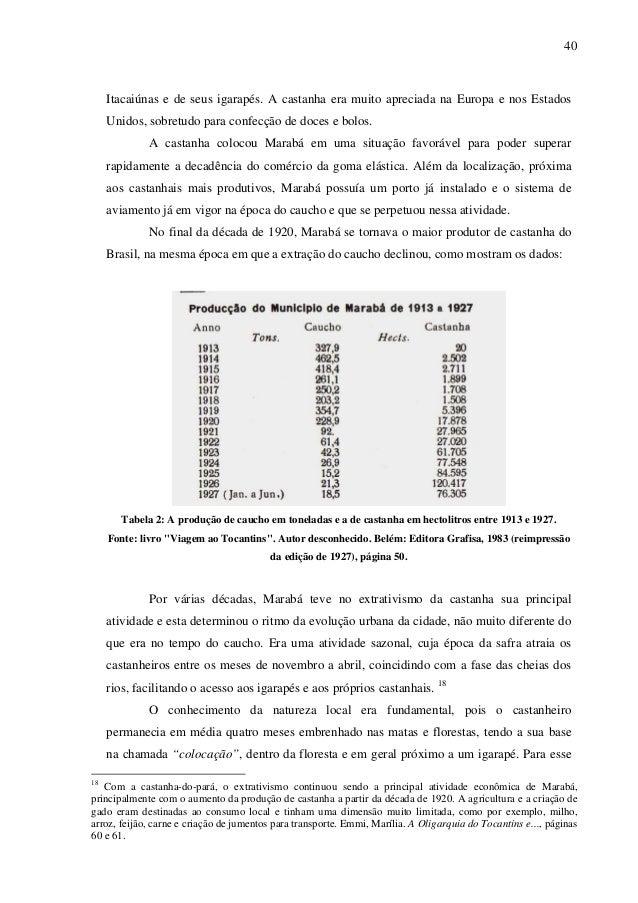 40 Itacaiúnas e de seus igarapés. A castanha era muito apreciada na Europa e nos Estados Unidos, sobretudo para confecção ...
