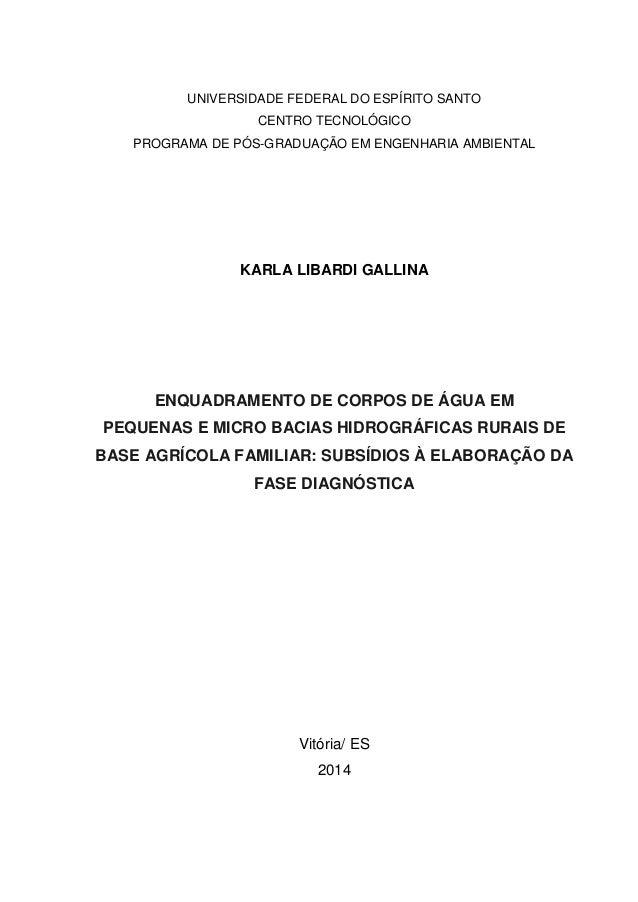 UNIVERSIDADE FEDERAL DO ESPÍRITO SANTO CENTRO TECNOLÓGICO PROGRAMA DE PÓS-GRADUAÇÃO EM ENGENHARIA AMBIENTAL KARLA LIBARDI ...