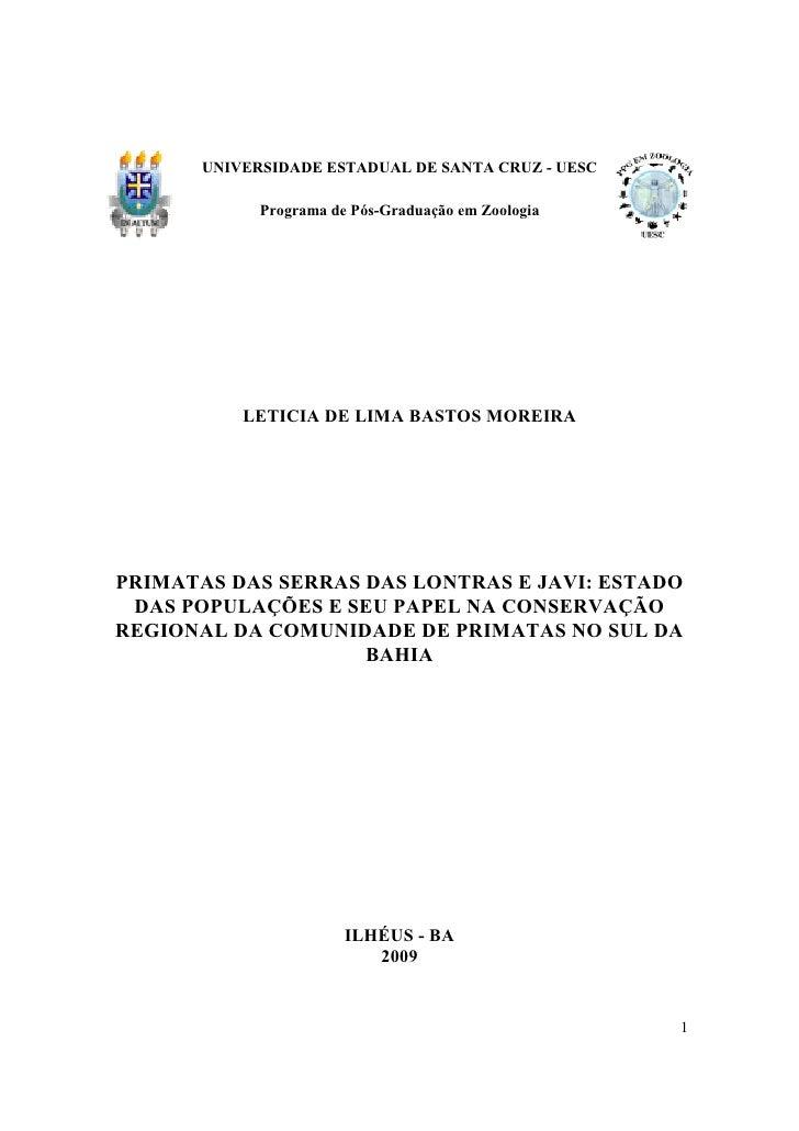 UNIVERSIDADE ESTADUAL DE SANTA CRUZ - UESC               Programa de Pós-Graduação em Zoologia                LETICIA DE L...