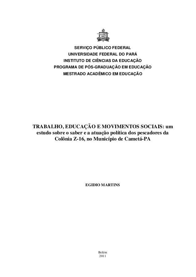 0 SERVIÇO PÚBLICO FEDERAL UNIVERSIDADE FEDERAL DO PARÁ INSTITUTO DE CIÊNCIAS DA EDUCAÇÃO PROGRAMA DE PÓS-GRADUAÇÃO EM EDUC...