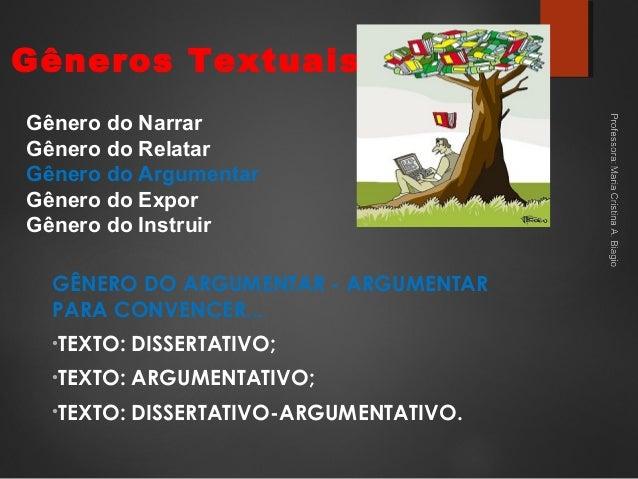 Gêneros Textuais GÊNERO DO ARGUMENTAR - ARGUMENTAR PARA CONVENCER... •TEXTO: DISSERTATIVO; •TEXTO: ARGUMENTATIVO; •TEXTO: ...