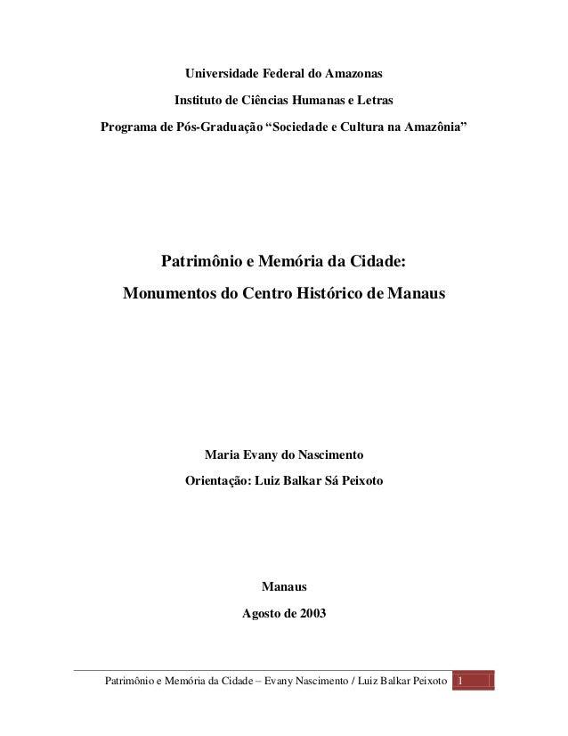 """Universidade Federal do Amazonas              Instituto de Ciências Humanas e LetrasPrograma de Pós-Graduação """"Sociedade e..."""