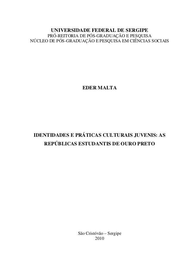 UNIVERSIDADE FEDERAL DE SERGIPEPRÓ-REITORIA DE PÓS-GRADUAÇÃO E PESQUISANÚCLEO DE PÓS-GRADUAÇÃO E PESQUISA EM CIÊNCIAS SOCI...