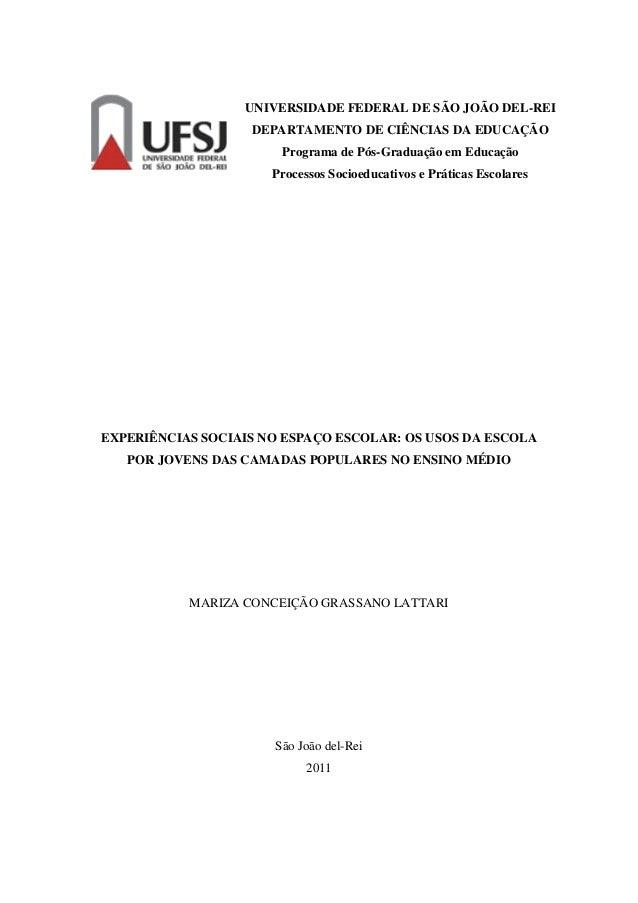 EXPERIÊNCIAS SOCIAIS NO ESPAÇO ESCOLAR: OS USOS DA ESCOLA POR JOVENS DAS CAMADAS POPULARES NO ENSINO MÉDIO MARIZA CONCEIÇÃ...