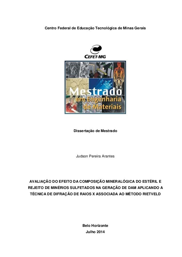 Centro Federal de Educação Tecnológica de Minas Gerais Dissertação de Mestrado Judson Pereira Arantes AVALIAÇÃO DO EFEITO ...