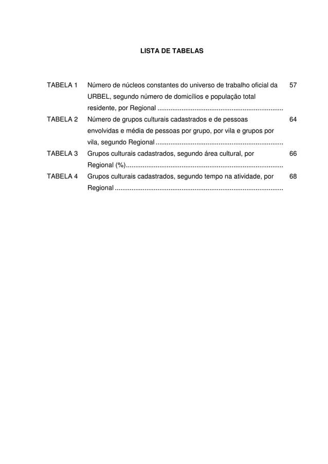 10 LISTA DE TABELAS TABELA 1 Número de núcleos constantes do universo de trabalho oficial da URBEL, segundo número de domi...